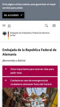 Vorschau der mobilen Webseite www.la-paz.diplo.de, Bolivien, deutsche Botschaft La Paz