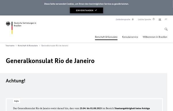 Vorschau von www.rio-de-janeiro.diplo.de, Brasilien, deutsches Generalkonsulat in Rio de Janeiro