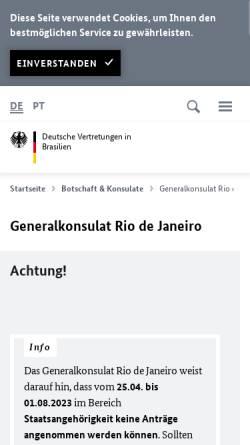 Vorschau der mobilen Webseite www.rio-de-janeiro.diplo.de, Brasilien, deutsches Generalkonsulat in Rio de Janeiro