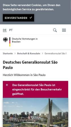 Vorschau der mobilen Webseite www.sao-paulo.diplo.de, Brasilien, deutsches Generalkonsulat in Sao Paulo