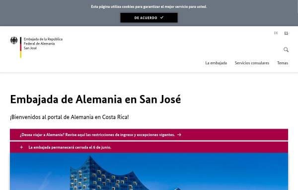 Vorschau von www.san-jose.diplo.de, Costa Rica, deutsche Botschaft San José
