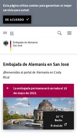 Vorschau der mobilen Webseite www.san-jose.diplo.de, Costa Rica, deutsche Botschaft San José