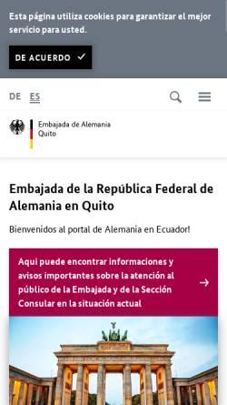 Vorschau der mobilen Webseite www.quito.diplo.de, Ecuador, deutsche Botschaft in Quito