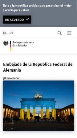 Vorschau der mobilen Webseite www.san-salvador.diplo.de, El Salvador, deutsche Botschaft in San Salvador