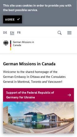 Vorschau der mobilen Webseite www.kanada.diplo.de, Kanada, deutsche Botschaft in Ottawa