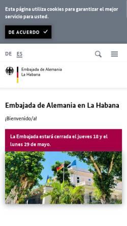 Vorschau der mobilen Webseite www.havanna.diplo.de, Kuba, deutsche Botschaft in Havanna