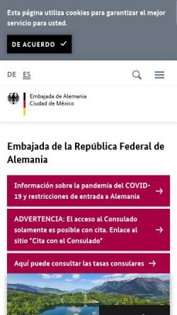 Vorschau der mobilen Webseite www.mexiko.diplo.de, Mexiko, deutsche Botschaft in Mexiko