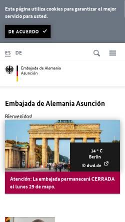 Vorschau der mobilen Webseite asuncion.diplo.de, Paraguay, deutsche Botschaft in Asunción