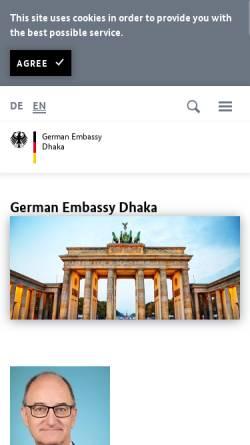 Vorschau der mobilen Webseite www.dhaka.diplo.de, Bangladesch, deutsche Botschaft Dhaka