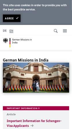 Vorschau der mobilen Webseite www.new-delhi.diplo.de, Indien, deutsche Botschaft in New Delhi
