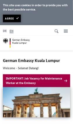 Vorschau der mobilen Webseite www.kuala-lumpur.diplo.de, Malaysia, deutsche Botschaft in Kuala Lumpur
