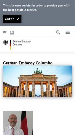 Vorschau der mobilen Webseite www.colombo.diplo.de, Sri Lanka, deutsche Botschaft in Colombo