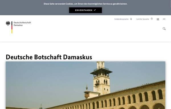 Vorschau von www.damaskus.diplo.de, Syrien, deutsche Botschaft in Damaskus