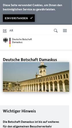 Vorschau der mobilen Webseite www.damaskus.diplo.de, Syrien, deutsche Botschaft in Damaskus