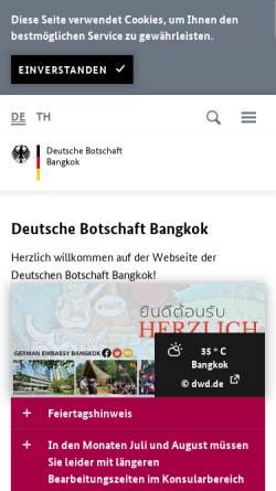 Vorschau der mobilen Webseite www.bangkok.diplo.de, Thailand, deutsche Botschaft in Bangkok