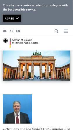 Vorschau der mobilen Webseite www.abu-dhabi.diplo.de, Vereinigte Arabische Emirate, deutsche Botschaft in Abu Dhabi