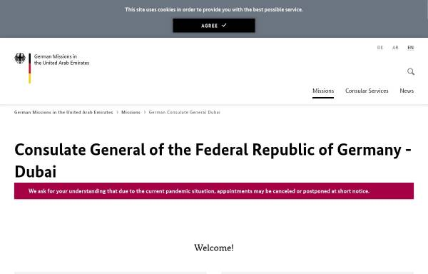 Vorschau von www.dubai.diplo.de, Vereinigte Arabische Emirate, deutsches Generalkonsulat in Dubai