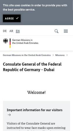 Vorschau der mobilen Webseite www.dubai.diplo.de, Vereinigte Arabische Emirate, deutsches Generalkonsulat in Dubai