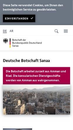 Vorschau der mobilen Webseite www.sanaa.diplo.de, Yemen, deutsche Botschaft in Sanaa