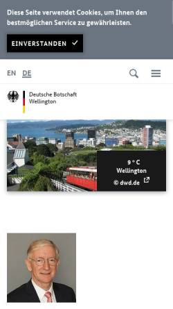 Vorschau der mobilen Webseite www.wellington.diplo.de, Neuseeland, deutsche Botschaft in Wellington