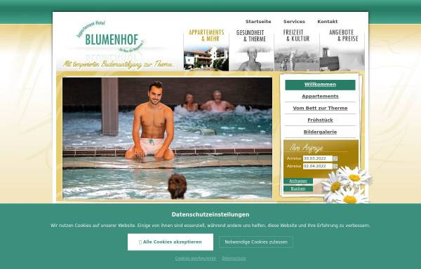 Vorschau von www.blumenhof-griesbach.de, Appartement-Hotel Blumenhof