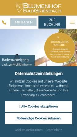 Vorschau der mobilen Webseite www.blumenhof-griesbach.de, Appartement-Hotel Blumenhof