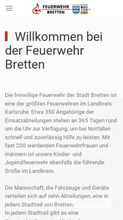 Vorschau der mobilen Webseite www.feuerwehr-bretten.de, Freiwillige Feuerwehr Bretten