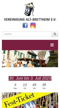 Vorschau der mobilen Webseite www.alt-brettheim.de, Vereinigung Alt-Brettheim