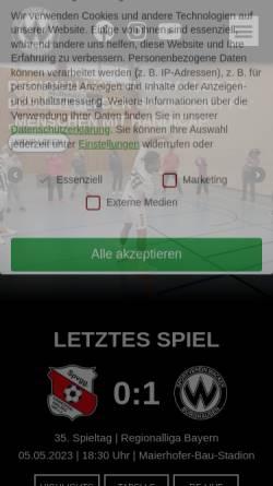 Vorschau der mobilen Webseite fussball.sv-wacker.de, SV Wacker Burghausen
