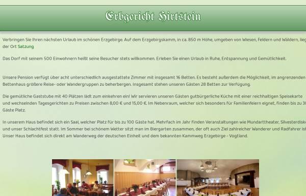 Vorschau von www.erbgericht.hirtstein.de, Gasthof und Pension Erbgericht