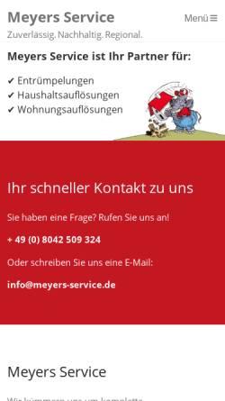 Vorschau der mobilen Webseite meyers-service.de, Meyers Service rund ums Haus