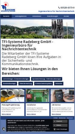 Vorschau der mobilen Webseite www.tfi-radeberg.de, TFI-Systeme Radeberg GmbH