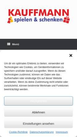 Vorschau der mobilen Webseite kauffmann-spielwaren.de, KAUFFMANN spielen & schenken GmbH