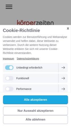 Vorschau der mobilen Webseite www.koerperzeiten-eisbergen.de, Eisbergen.de