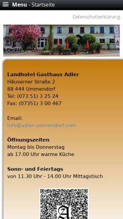 Vorschau der mobilen Webseite www.adler-ummendorf.com, Landhotel Adler Ummendorf