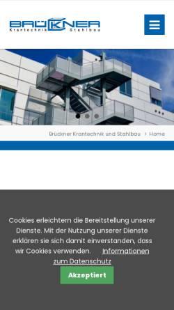 Vorschau der mobilen Webseite www.brueckner-stahlbau.de, Brückner Krantechnik und Stahlbau GmbH & Co KG