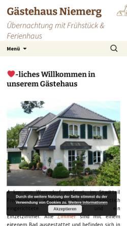 Vorschau der mobilen Webseite www.niemerg.de, Gästehaus Niemerg