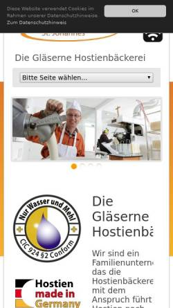 Vorschau der mobilen Webseite www.hostie.de, Hostienbäckerei Kloster Vinnenberg
