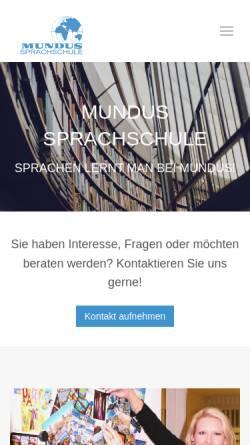 Vorschau der mobilen Webseite www.mundus-sprachschule.de, Mundus-Sprachschule