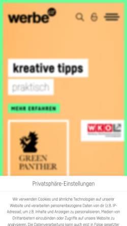 Vorschau der mobilen Webseite www.werbe.at, Fachgruppe Werbung - Wirtschaftskammer Steiermark