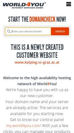 Vorschau der mobilen Webseite www.kolping.vc-graz.ac.at, Kolpinghaus Graz