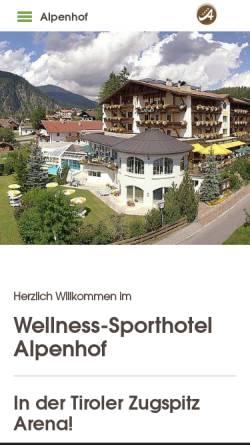 Vorschau der mobilen Webseite www.alpenhof-ehrwald.at, Alpenhof