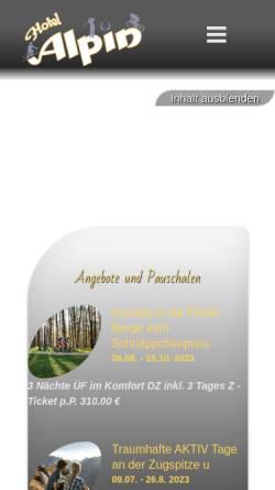 Vorschau der mobilen Webseite www.hotel-alpin.at, Hotel Alpin