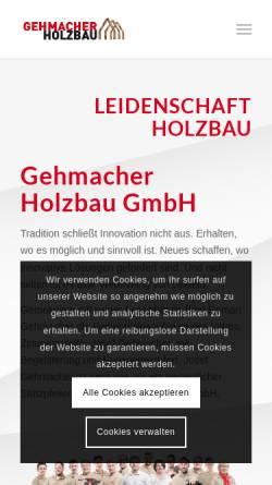 Vorschau der mobilen Webseite holzbau-gehmacher.at, Holzbau und Zimmerei Gehmacher