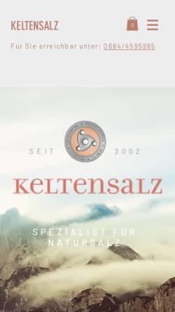 Vorschau der mobilen Webseite www.keltensalz.at, Keltenschild Naturprodukte