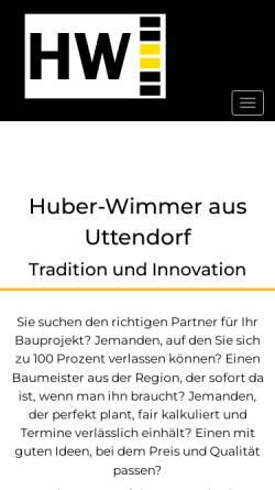 Vorschau der mobilen Webseite www.huber-wimmer.at, Bauunternehmen Huber-Wimmer