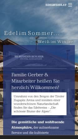 Vorschau der mobilen Webseite www.edelweiss.at, Hotel Edelweiss