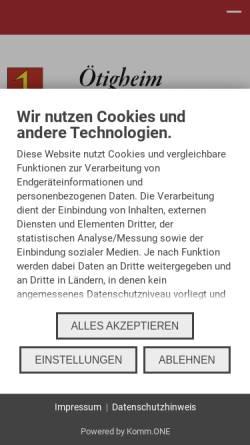 Vorschau der mobilen Webseite www.oetigheim.de, Gemeinde Ötigheim