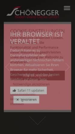 Vorschau der mobilen Webseite www.schoenegger.at, Raumgestaltung Schönegger