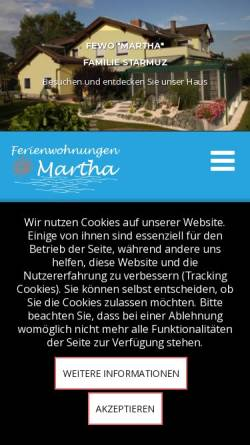 Vorschau der mobilen Webseite www.fewo-starmuz.at, Ferienwohnungen Martha und Valentin Starmuz